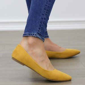 Mustard Yellow Vegan Suede Pointy Toe Flat Shoes